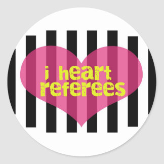 I Heart Referees Round Sticker