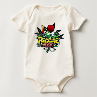 I Heart Reggae Music Baby Bodysuit