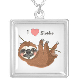 I Heart Sloths Baby Animals Silver Plated Necklace