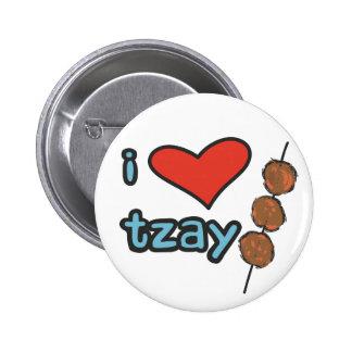 I heart tzay 6 cm round badge