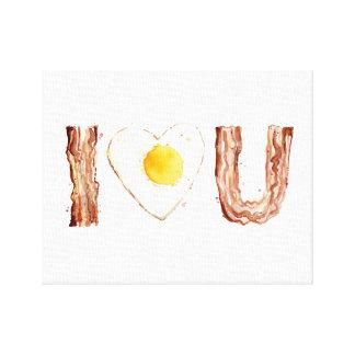 I Heart U Bacon and Egg Watercolor Canvas Print