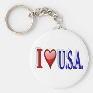 I Heart U.S.A. 3D Key Chains, Red & Blue Key Ring