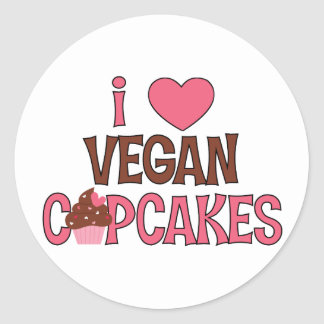 I Heart Vegan Cupcakes Round Sticker
