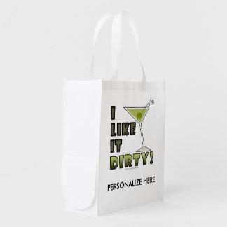I LIKE IT DIRTY! Dirty Martini Cocktail Humor Reusable Grocery Bag