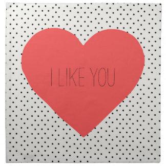 I like you red Heart cloth napkins