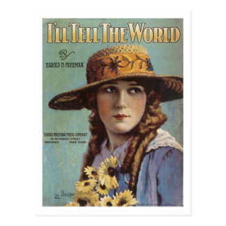 I ll Tell the World Vintage Songbook Cover Postcard