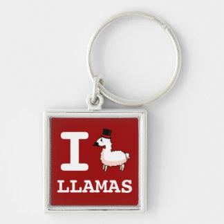 I Llama Llamas Silver-Colored Square Key Ring