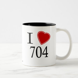 I Love 704 Charlotte Two-Tone Coffee Mug