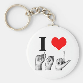 I Love A-S-L Basic Round Button Key Ring