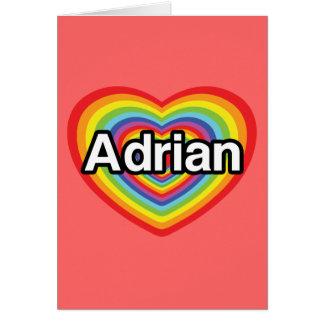 I love Adrian, rainbow heart Card