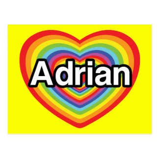 I love Adrian, rainbow heart Postcard