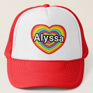 I love Alyssa, rainbow heart Trucker Hat