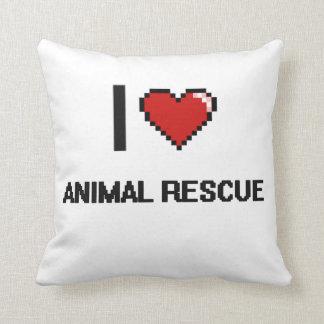 I Love Animal Rescue Digital Retro Design Cushions