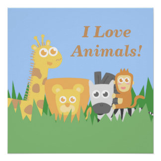 I love animals, cute and colourful for kids