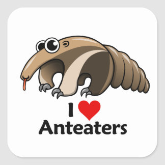 I Love Anteaters Square Sticker