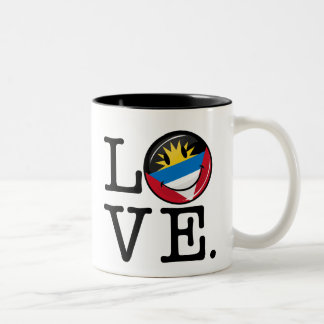 I Love Antigua and Barbuda Smiling Flag Two-Tone Coffee Mug
