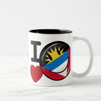 I Love Antigua and Barbuda Smiling Flag Two-Tone Coffee Mug