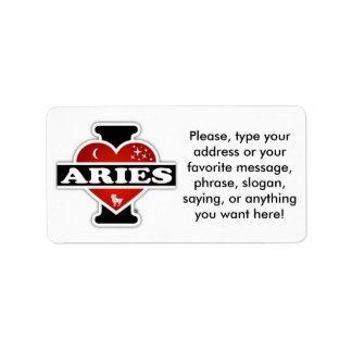 I Love Aries Label