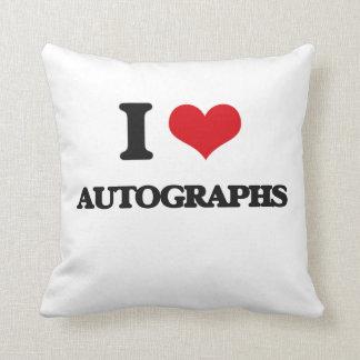 I Love Autographs Throw Pillow