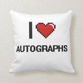 I Love Autographs Digital Retro Design Pillows