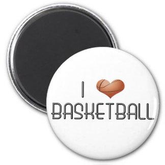 I Love Basketball 6 Cm Round Magnet