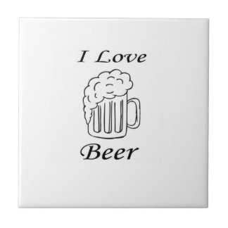 I Love Beer Small Square Tile