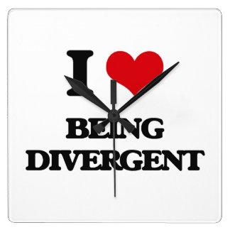 I Love Being Divergent Square Wallclocks