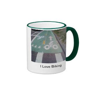 I Love Biking Ringer Mug