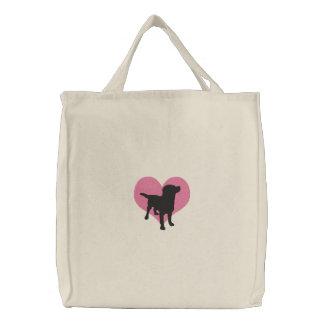 I Love Black Labradors Embroidered Tote Bag