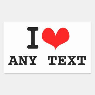 I Love blah blah(5~8 letters) Rectangular Sticker