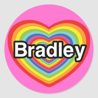 I love Bradley: rainbow heart Classic Round Sticker