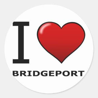 I LOVE BRIDGEPORT,CT - CONNECTICUT CLASSIC ROUND STICKER