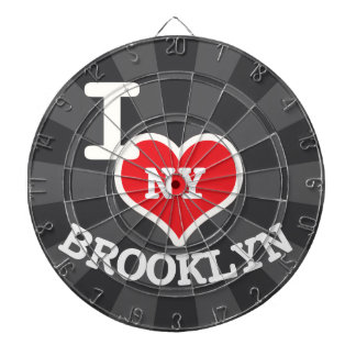 I Love Brooklyn NY Charcoal Gray Dartboard