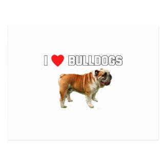 I Love Bulldogs Postcard