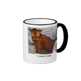 I Love Cats Ringer Mug