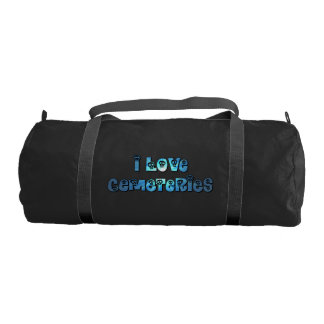 I Love Cemeteries in blue Gym Bag