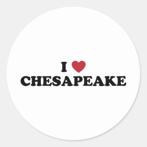 I Love Chesapeake Virginia Round Sticker