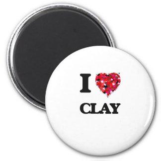 I love Clay 6 Cm Round Magnet