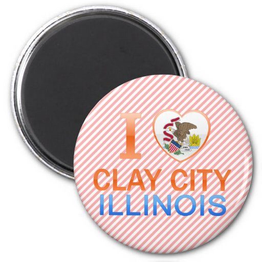 I Love Clay City, IL Refrigerator Magnets