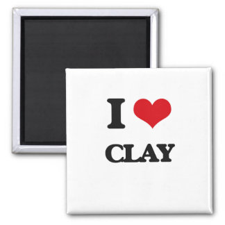 I Love Clay 2 Inch Square Magnet