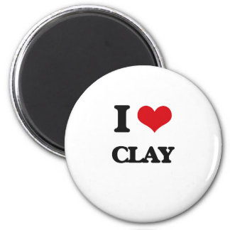 I Love Clay 2 Inch Round Magnet