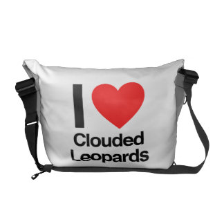 i love clouded leopards messenger bags