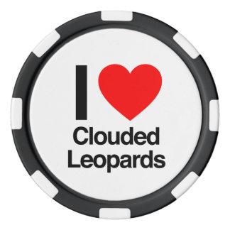 i love clouded leopards set of poker chips