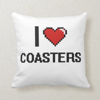 I Love Coasters Digital Retro Design Cushion