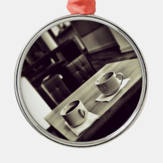I love Coffee Cafe Shop Coffee Cups on Table Christmas Ornament