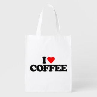 I LOVE COFFEE REUSABLE GROCERY BAG