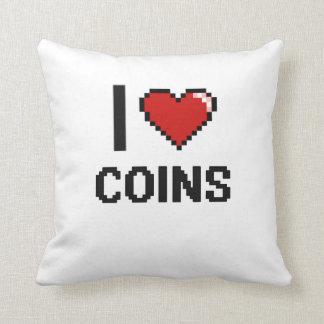 I Love Coins Digital Retro Design Pillow