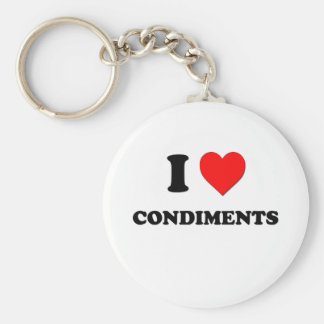 I Love Condiments ( Food ) Basic Round Button Key Ring