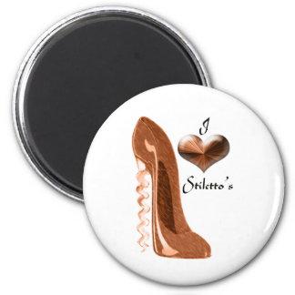 I Love Copper Corkscrew Stiletto Shoe and 3D Heart Magnet