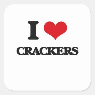 I Love Crackers Square Sticker